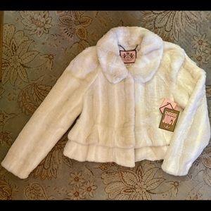 "NWT   Juicy Couture ""Angel"" Faux Flounce (Ruffled) Peplum/Cropped Jacket   Sz: L"